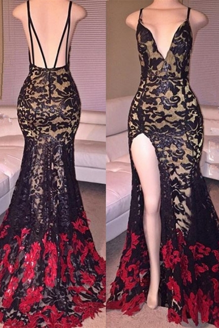 Sexy Mermaid V-Neck Lace Evening Gowns Latest Open Back Split Party Dresses MQ0