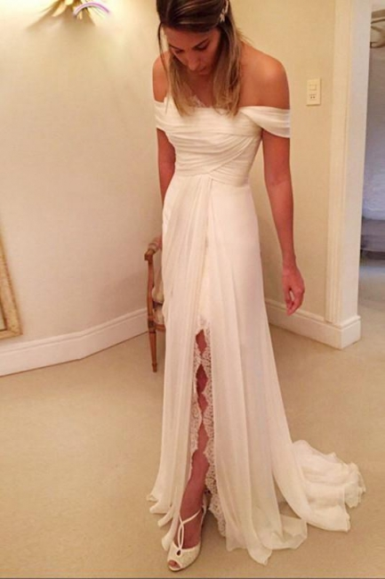 Chiffon Long Beach Wedding Dress On Sale | A-Line Off-the-Shoulder Bridal Gowns