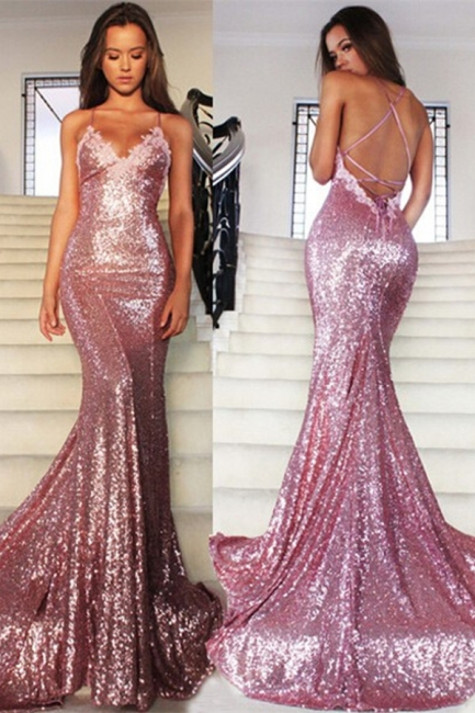Rose Pink Mermaid Sequins Party Dresses Spaghetti Strap Long Evening Gowns AE0124