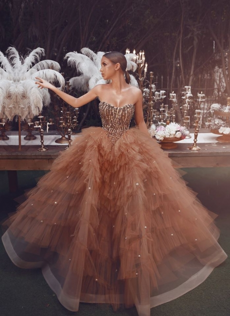 Gorgeous Tulle Strapless Sweetheart Pearls Prom Dress Champagne Formal Dresses with Beading Top