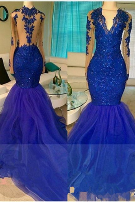 Royal-Blue V-neck Long-Sleeve Mermaid Sequins Appliques Beading Tulle Prom Dresses