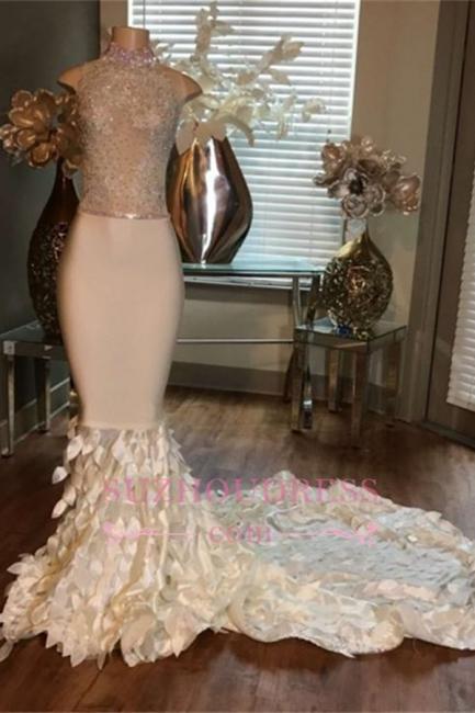 Sleeveless High-Neck Mermaid Appliques Sleeveless Prom Dresses with Ruffles