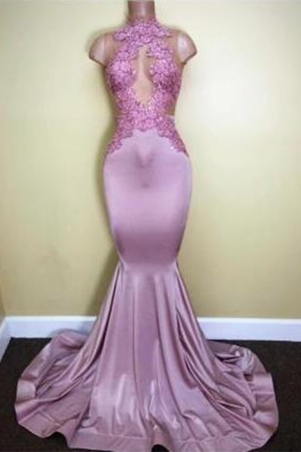 Appliques Mermaid Sleeveless Sweep-Train Newest High-Neck Prom Dress   BA5116