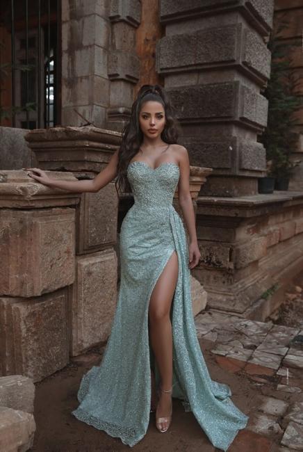 Sexy Strapless Sweetheart Mint Prom Dress Sexy High Slit Ruffles Long Evening Dresses Online