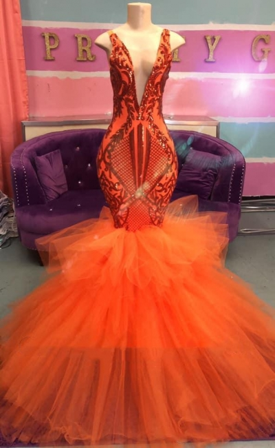 Sexy Sleeveless Deep V-Neck Prom Dress Tulle Orange Party Dresses with Puffy Train