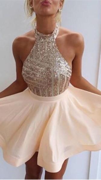 Sequin Halter Mini  Homecoming Dresses Cute Sleeveless Short Summer Gowns BA3349