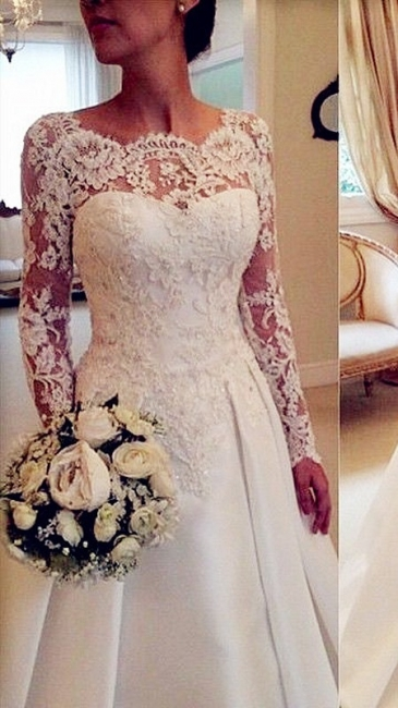 Long Sleeve Lace Wedding Dresses Open Back Satin Elegant A Line Bridal Gowns