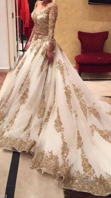 Custom Made Gold Lace Wedding Dress  Long Sleeve Luxurious Bridal Dress TB0326