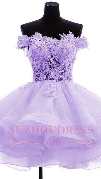 Cute Ruffles Short Off-the-Shoulder Flowers Homecoming Dress