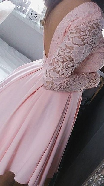 A-Line Pink Long Sleeve  Summer Dresses Lace Open Back Short Homecoming Gowns AE0208