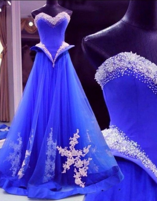 Beautiful Royal Blue Crystal Prom Dress Sweetheart Beadings Tulle Lace Applique Quinceanera Dresses
