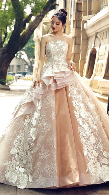 Applique Organza Strapless Ball Gown Sweep Train Prom Dress UK on sale