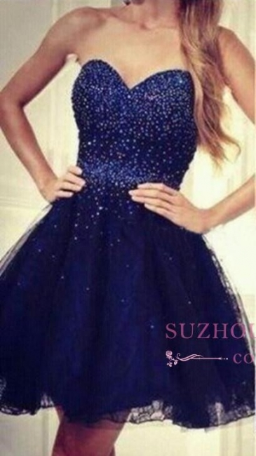 Tulle Beading Short Sequins Strapless Navy-Blue Sweetheart Homecoming Dresses