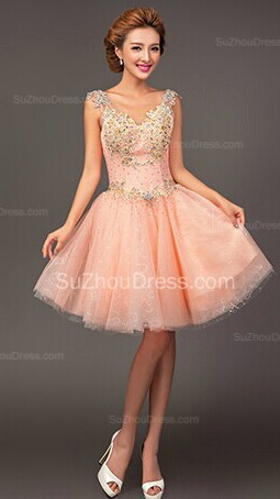 Pink Homecoming Dresses  Straps Sleeveless Short Ball Gown Sequins Beading Crystal  Cocktail Gowns
