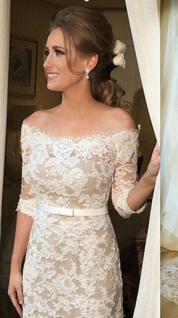 Lace Half Sleeve Bridal Dresses  Off-the-shoulder Elegant Wedding Gowns with Sash