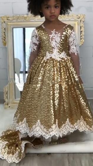 Gold Sparkly Sequins Girl Applique Round Neck Court Train Pageant Dress | Suzhoudress UK