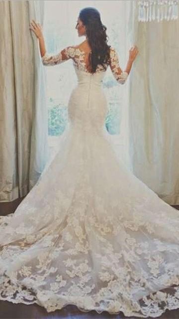 Elegant Half Sleeve Court Train Bridal Gown Latest White Mermaid Lace Wedding Dresses