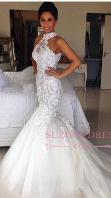 Halter Long Sleeveless Mermaid Sexy Tulle Applique Wedding Dresses