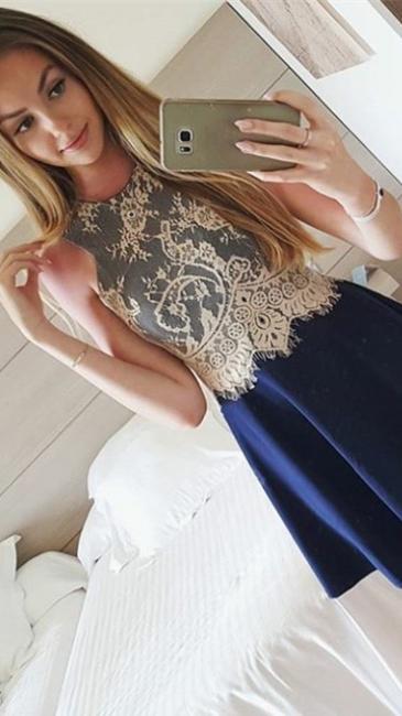 New Arrival Blue Lace Mini Homecoming Dresses A-Line Sleeveless Short Summer Dress
