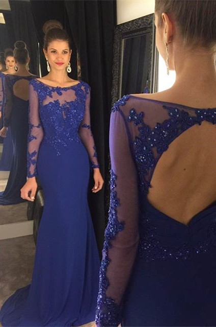 Sexy Mermaid Beading Royal Blue Evening Dress Long Sleeve Open Back Party Dresses GA009
