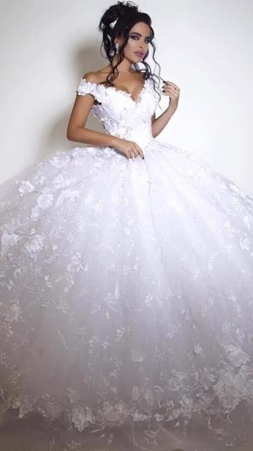 Off The Shoulder V-neck Princess Wedding Dress Lace appliques  Ball Gown Bride Dress BA3053