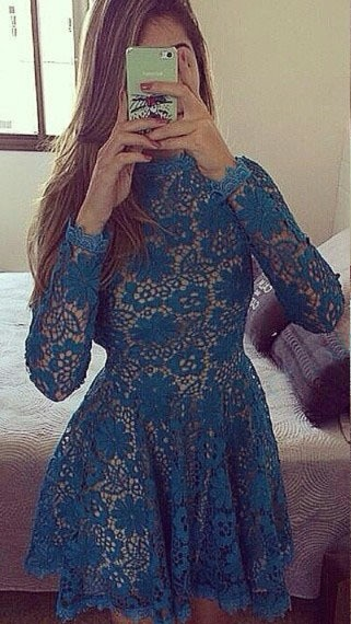 New Arrival Long Sleeve Lace Party Gowns Sexy Open Back  Homecoming Dresses