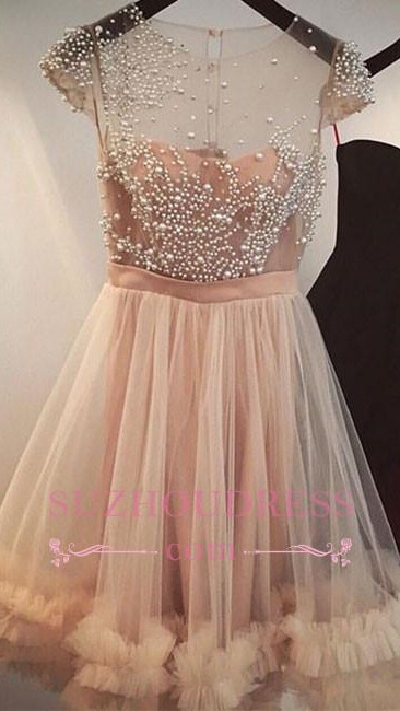 A-line Sheer Capped Sleeves Short Party Dress  Champagne Beading Tulle Homecoming Dresses