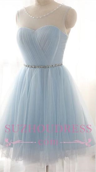 Newest   Party Dress A-line Beads Mini Baby Blue Homecoming Dress BA3644