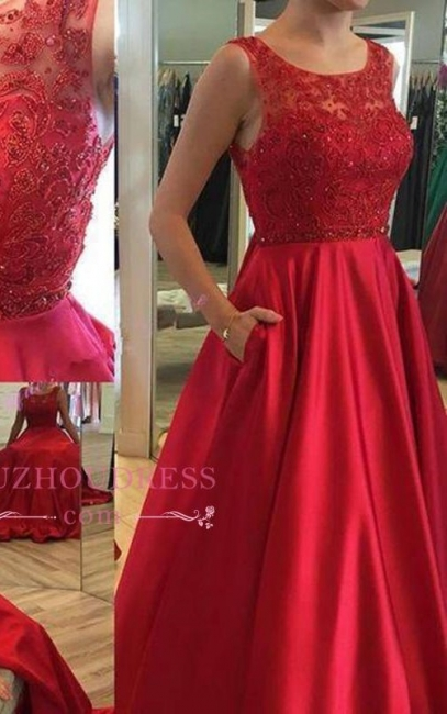 Applique Elegant Ruby Open-Back Long A-Line Sleeveless Prom Dresses