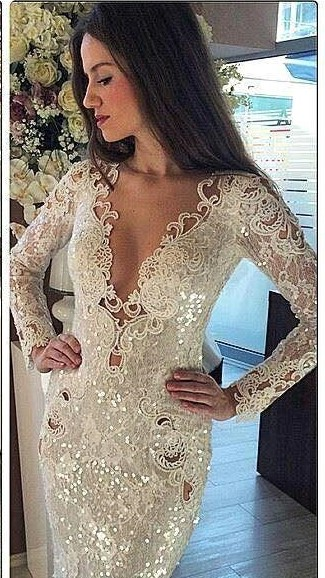 Womens V-Neck Long Sleeves Sequined Sexy Trumpet/Mermaid Appliques Online Prom Dress Sale | Suzhoudress UK