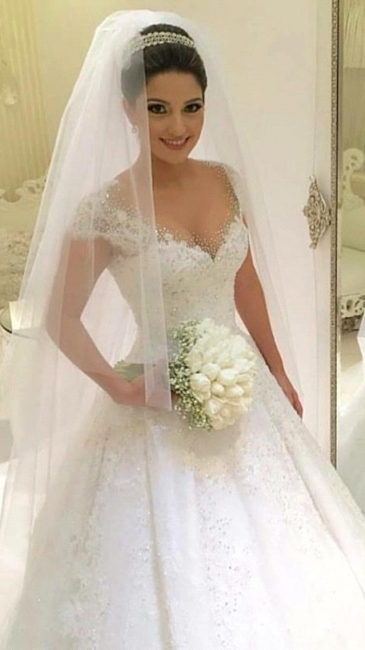 Gorgeous Tulle Crystal Wedding Dresses  Lace Short Sleeve Bridal Gowns