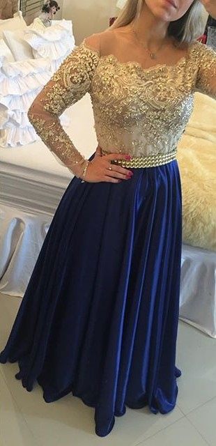 Latest Long Sleeve A-Line Prom Dress with Beading Lace Applique  Evening Gown