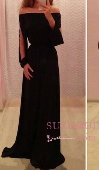 Summer Long-Sleeve Off-the-Shoulder A-Line Black Chiffon Prom Dresses BA4768