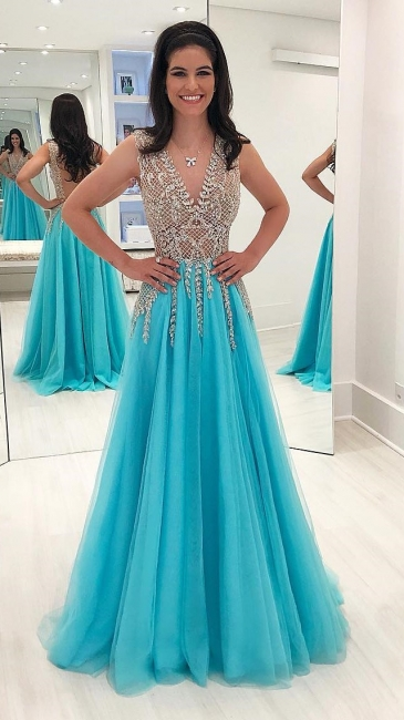 A-Line Sequins Sleeveless Backless Tulle Sweep Train Sexy Evening Dresses