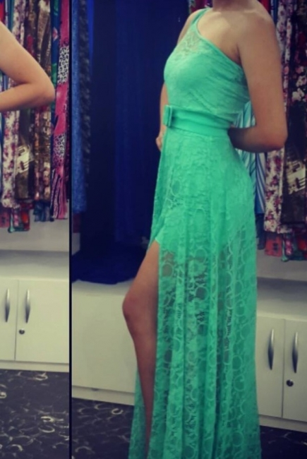 One Shoulder Green Lace Sexy Long Prom Dress Latest Floor Length Side Slit Evening Dresses with Belt