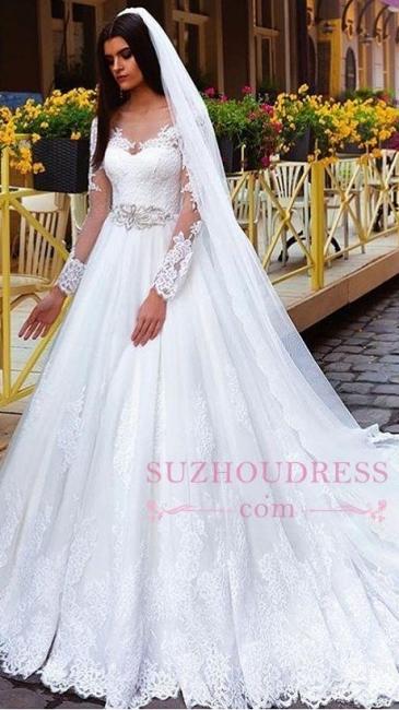 Elegant Princess Crystal Lace Long-Sleeve Wedding Dresses