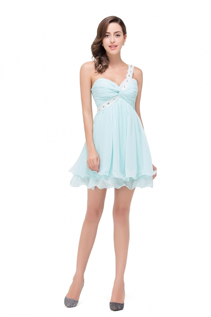 Short Chiffon One-Shoulder Elegant Homecoming Dress