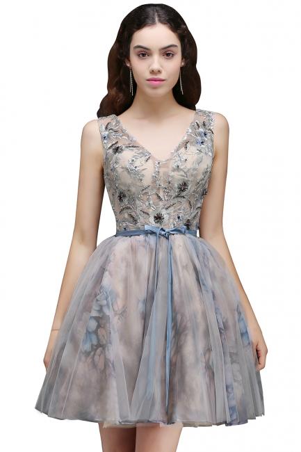 Lace-up Short Sleeveless Cute Belt Straps Flowers Homecoming Dress