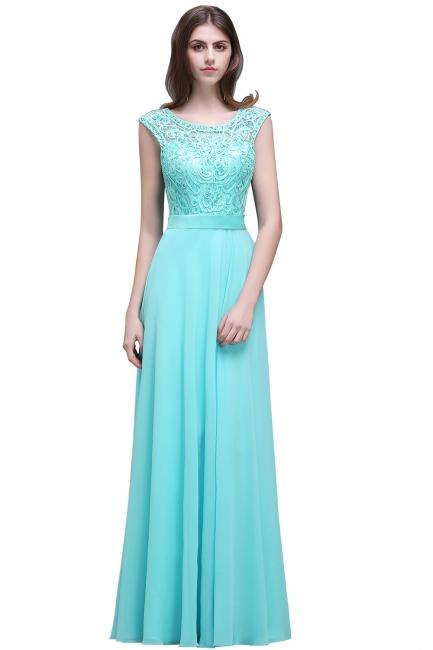 Glamorous Scoop Lace-Appliques A-Line Chiffon prom dresses
