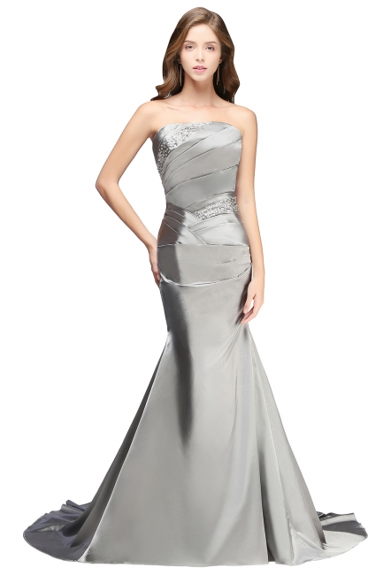 Silver Mermaid  Sexy Long Evening Dresses with Sparkly Sequins Long Train  Bridesmaid Dresses LFC036