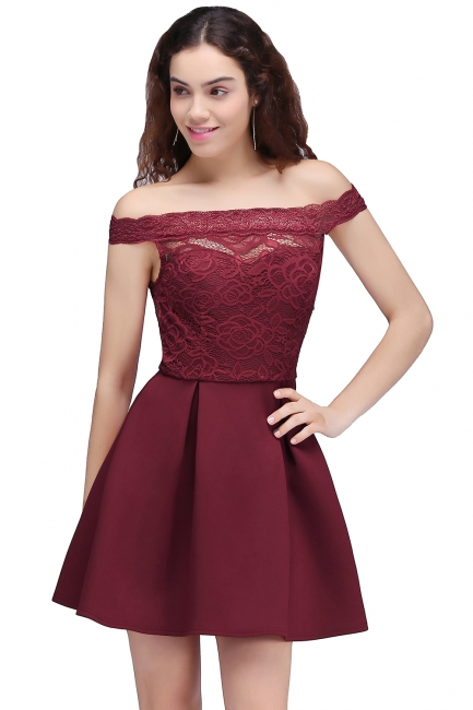 Lace Burgundy Off-the-Shoulder A-Line Short Homecoming Dresses