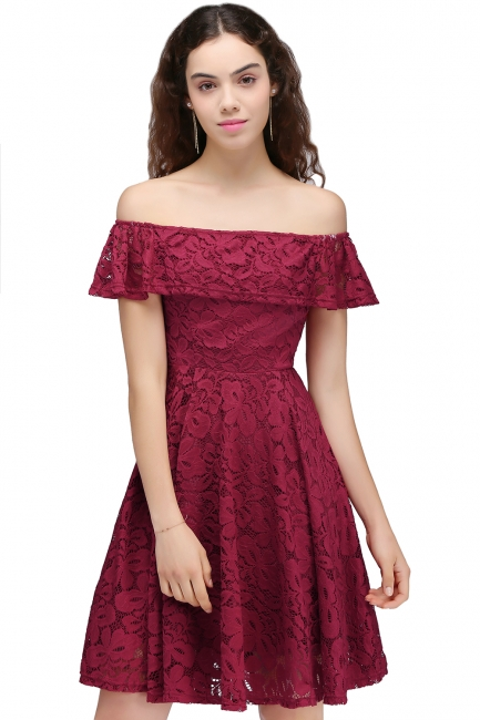 Off-the-Shoulder Burgundy Lace Short Sheath Homecoming Dresses