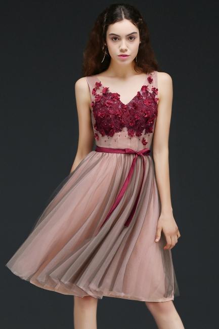 Burgundy-Flowers Sash A-line Open-Back Romantic V-Neck Homecoming Dresses