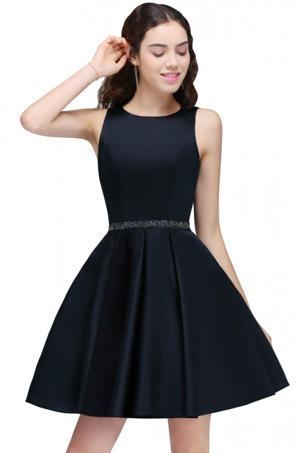 Sequare A-Line Black Beadings Short Sleeveless Homecoming Dresses