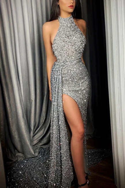 Gorgeous Halter Long Prom Dress Lace Appliques Party Gowns With Slit