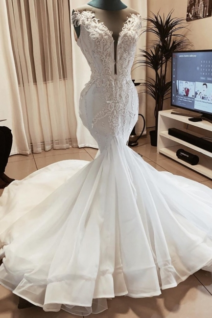 Beaded Fit And Flare Mermaid Wedding Dress Online   Sexy Deep V Neck Applique Bridal Gowns