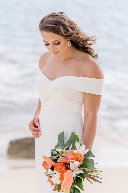 Sheath Sweetheart Wedding Dress Online | Elegant Off-the-Shoulder Chiffon Bridal Gowns