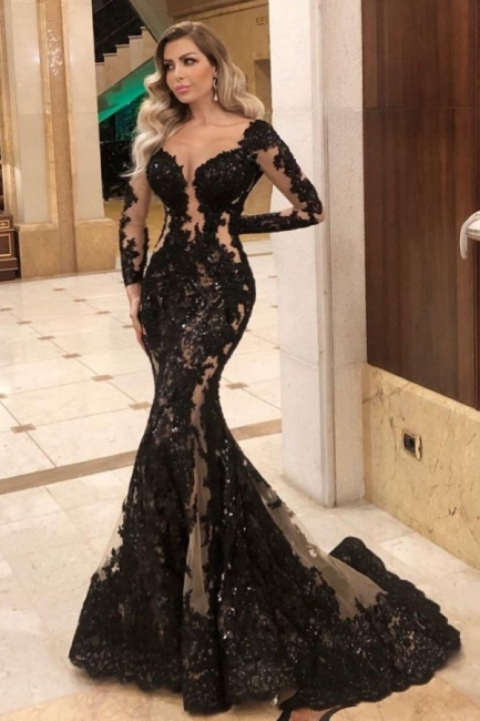 Glamorous Long Sleeve Black Prom Dress Lace Mermaid Evening Gowns