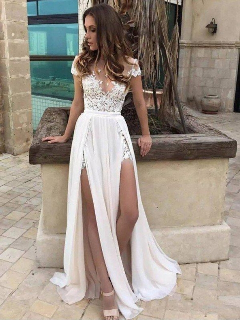 V-neck Lace Chiffon Floor-Length Bridal Dress Online | A-Line Side Split Sleeveless Bridal Gowns