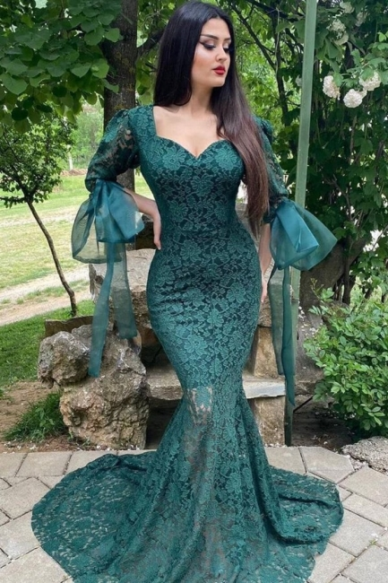 Chic Green Long Sleeve Lace Prom Dress Mermaid Evening Party Gowns
